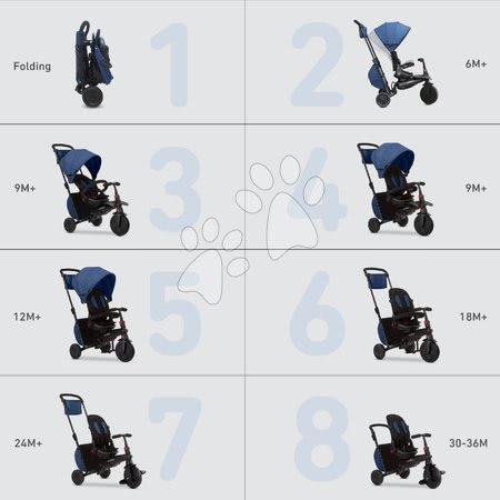 Tříkolky - Tříkolka a kočárek skládací STR7 Urban 7v1 smarTrike modrá se sklopným sedadlem TouchSteering s EVA kolečky od 6 měsíců_1