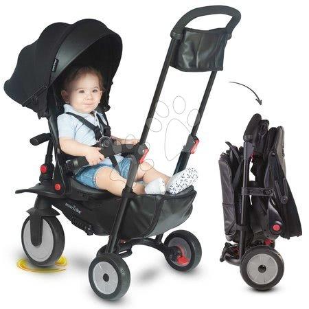 Tricicletă și cărucior pliabil STR7 Urban 8în1 smarTrike neagră cu scaun rabatabil TouchSteering și roți EVA de la 6 luni