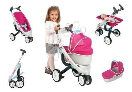 Kočík pre bábiku 3v1 Maxi Cosi & Quinny Smoby (70 cm rúčka) ružovo-modrý