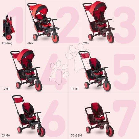 Tříkolky - Tříkolka a kočárek skládací STR7 Urban 7v1 smarTrike červená se sklopným sedadlem TouchSteering s EVA kolečky od 6 měsíců_1