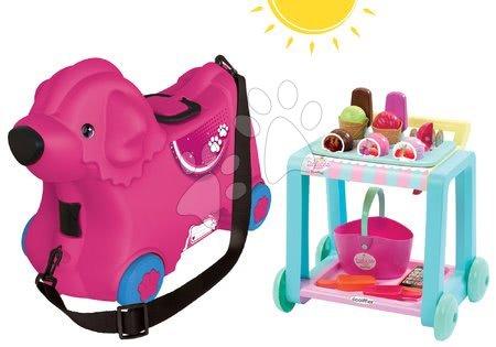 Odrážadlo kufor na kolieskach Pes Bobby BIG ružový+vozík so zmrzlinou Délices s košíkom