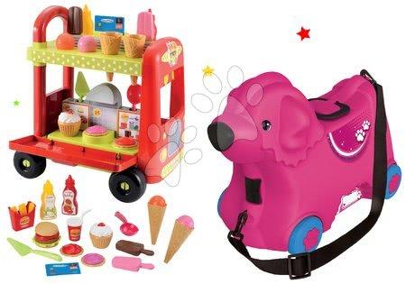 Komplet poganjalec kovček Pes Bobby BIG voziček s sladoledom Délices s košaro rožnat