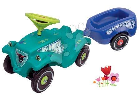 Odrážadlá - Set odrážadlo autíčko Little Star BIG Bobby Car Classic tyrkysové a prívesný vozík od 12 mes