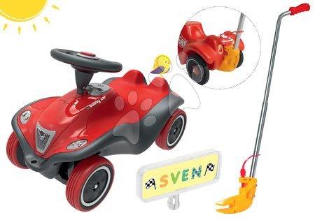 Set odrážadlo auto Next Bobby Car BIG červené a vodiaca tyč a značka s menom a vodičský preukaz