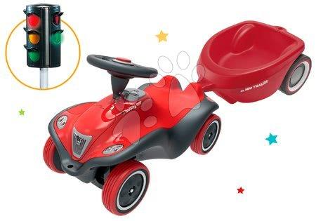 Odrážadlá sety - Set odrážadlo auto Next Bobby Car BIG červené a prívesný vozík oválny so svetelným semaforom od 12 mes