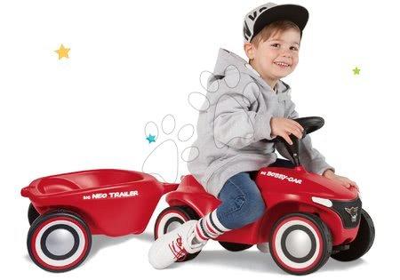 Odrážadlá - Set odrážadlo Bobby Car Neo BIG červené zvukové s 3-vrstvovými gumovými kolesami a prívesný vozík
