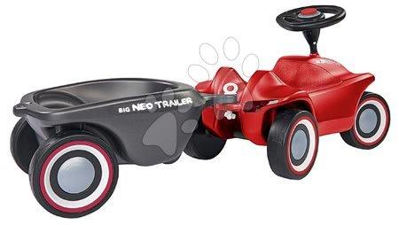Otroški poganjalci - Komplet poganjalec Bobby Car Neo BIG rdeč z zvoki in 3-slojnimi gumijastimi kolesi ter ovalna prikolica z zamenljivimi pokrovi platišč_1