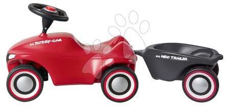 Otroški poganjalci - Komplet poganjalec Bobby Car Neo BIG rdeč z zvoki in 3-slojnimi gumijastimi kolesi ter ovalna prikolica in palica z ergonomskim naslonjalom_1