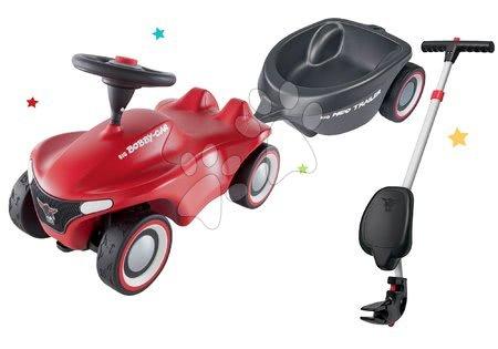 Otroški poganjalci - Komplet poganjalec Bobby Car Neo BIG rdeč z zvoki in 3-slojnimi gumijastimi kolesi ter ovalna prikolica in palica z ergonomskim naslonjalom