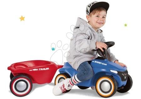 Odrážadlá - Set odrážadlo Bobby Car Neo BIG modré zvukové s 3-vrstvovými gumovými kolesami a prívesný vozík