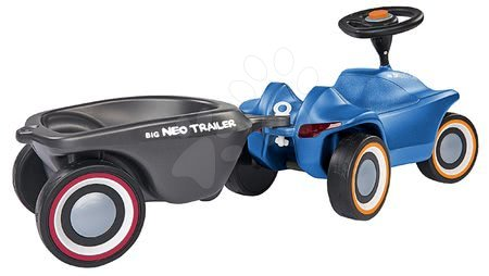 Otroški poganjalci - Komplet poganjalec Bobby Car Neo BIG moder z zvoki in 3-slojnimi gumiranimi kolesi ter ovalna prikolica z ergonomskim naslonjalom_1