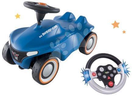Odrážadlá - Set odrážadlo Bobby Car Neo BIG modré zvukové s 3-vrstvovými gumovými kolesami a s volantom so zvukom a svetlom