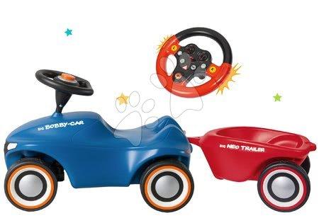 Odrážadlá sety - Set odrážadlo Bobby Car Neo BIG modré zvukové s 3-vrstvovými gumovými kolesami a s prívesom a volant so zvukom a svetlom
