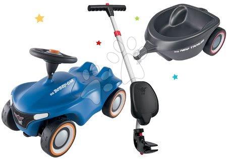 Otroški poganjalci - Komplet poganjalec Bobby Car Neo BIG moder z zvoki in 3-slojnimi gumiranimi kolesi ter ovalna prikolica z ergonomskim naslonjalom