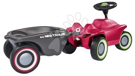 Otroški poganjalci - Komplet poganjalec Bobby Car Neo BIG rožnati z zvokom in 3-slojnimi gumiranimi kolesi in ovalna prikolica z zamenljivimi pokrovi za platišča_1
