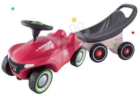 Otroški poganjalci - Komplet poganjalec Bobby Car Neo BIG rožnati, z zvoki in 3-slojnimi gumiranimi kolesi in prikolica Buggy 3v1 s funkcijami
