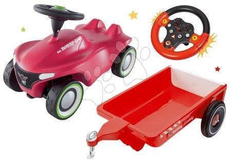 Odrážadlá sety - Set odrážadlo Bobby Car Neo BIG ružové zvukové s 3-vrstvovými gumovými kolesami s vozíkom a volant so zvukom a svetlom