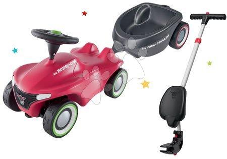 Otroški poganjalci - Komplet poganjalec Bobby Car Neo BIG rožnati z zvoki s 3-slojnimi gumijastimi kolesi in ovalna prikolica ter palica za vodenje z ergonomskim naslonjalom_1
