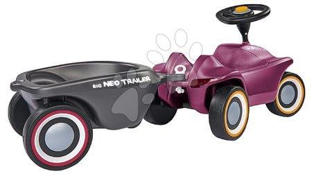 Otroški poganjalci - Komplet poganjalec Bobby Car Neo Aubergine BIG z zvoki in 3-slojnimi gumiranimi kolesi in ovalna prikolica_1