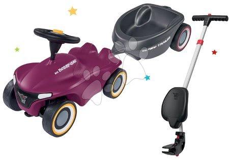 Otroški poganjalci - Komplet poganjalec Bobby Car Neo Aubergine BIG z zvoki in 3-slojnimi gumiranimi kolesi ter palica za vodenje z ergonomskim naslonjalom in ovalna prikolica