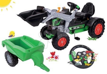 BIG - Szett pedálos traktor homlokrakodóval Jim Turbo BIG interaktív kormánnyal és utánfutóval