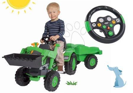 BIG - Szett pedálos traktor Jim Loader BIG homlokrakodóval, utánfutóval és interaktív kormány hanggal