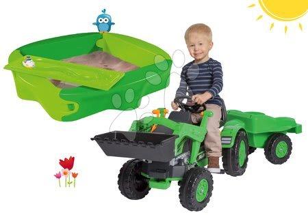 Komplet traktor na pedala Jim Loader BIG z nakladalno roko in prikolico in peskovnik Sandy s pokrivalom