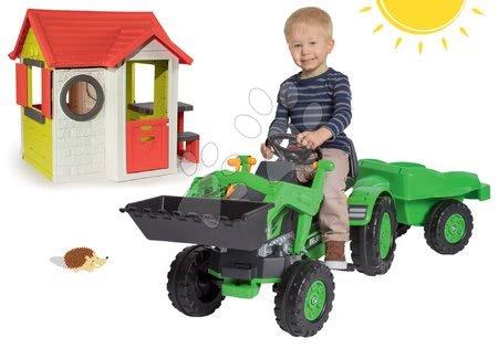Šlapací traktor Jim Loader s nakladačom a prívesom+domček My House Smoby s 2 dverami a stolom BIG56516-5