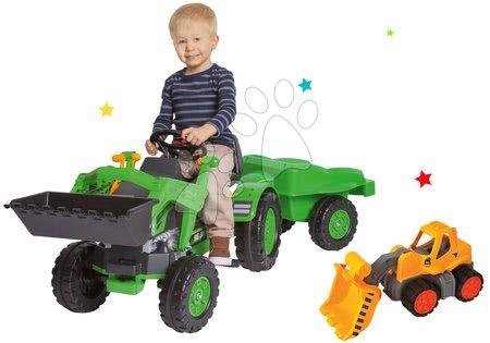 BIG - Szett pedálos traktor Jim Loader BIG homlokrakodóval, utánfutóval és traktor Power BIG homlokrakodóval ajándékba