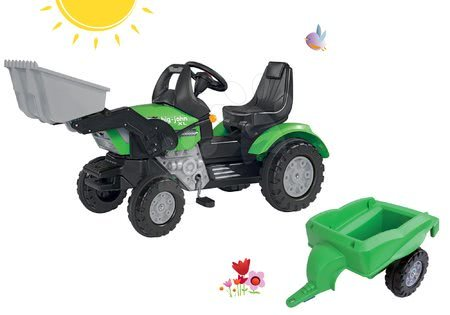 Tractor cu pedale John XL BIG cu încărcător frontal verde și remorcă