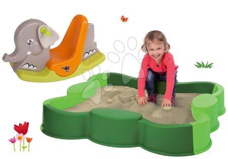 Set pieskovisko VARIO BIG štvorlístok zelené s krycou plachtou a hojdačka Slon s pohyblivými ušami od 12 mes