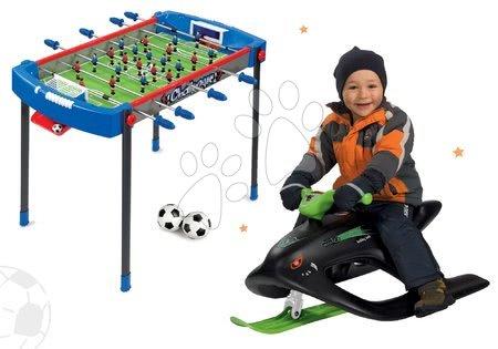 Stolný futbal - Set futbalový stôl Challenger Smoby a sánky Wild Spidder s kovovou sklznicou a tlmičom