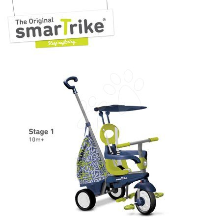 smarTrike - Trojkolka Groove Touch Steering 4v1 smarTrike s nákupnou taškou modro-zelená od 10 mes