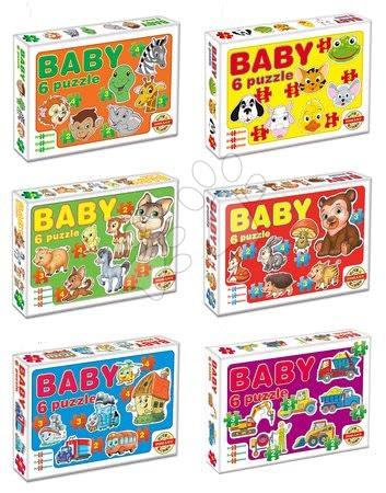Hračky pro nejmenší - Baby puzzle Zvířátka a dopravní prostředky Dohány 6obrázkové od 24 měsíců