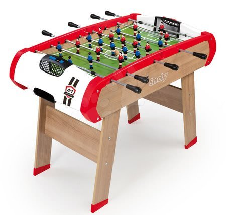 Jocuri de societate - Masă de fotbal din lemn Powerplay 4in1 Smoby fotbal de masă, hochei şi tenis de masă de la 8 ani_1