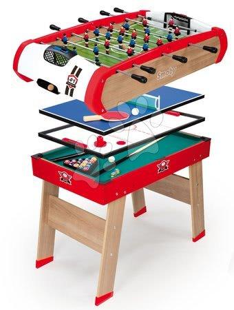 Fából készült csocsóasztal Powerplay 4in1 Smoby – asztali foci, biliárd, hoki és asztali tenisz 8 évtől