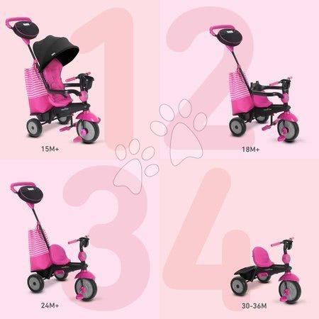 Tříkolky - Tříkolka SWING DLX 4v1 Pink TouchSteering smarTrike s tlumičem a volnoběhem + UV filtr růžová od 10 měsíců_1
