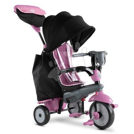Tříkolky - Tříkolka Swirl DLX 4v1 Grey&Pink TouchSteering smarTrike s tlumičem a volnoběhem + UV filtr šedo-růžová od 10 měsíců