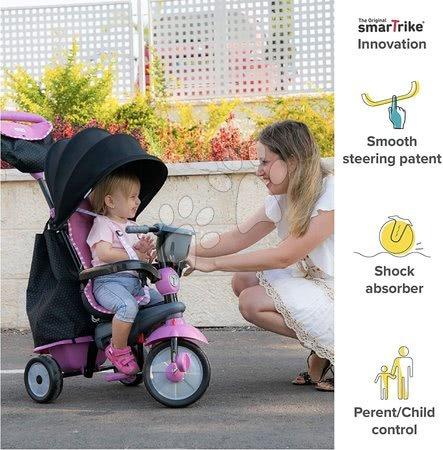 Tříkolky - Tříkolka Swirl DLX 4v1 Grey&Pink TouchSteering smarTrike s tlumičem a volnoběhem + UV filtr šedo-růžová od 10 měsíců_1