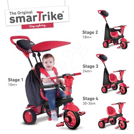 Trojkolka Spark Touch Steering 4v1 Black&Red smarTrike od 10 mesiacov červeno-čierna