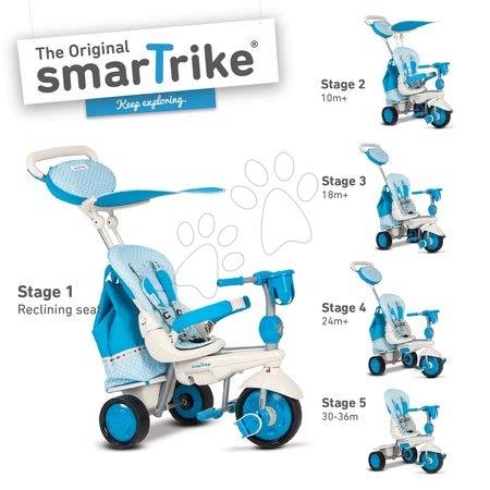 Trojkolka Splash 5v1 Blue&White smarTrike 360° riadenie s polohovateľnou opierkou od 10 mesiacov modro-krémová