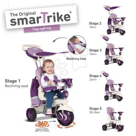 smarTrike - Trojkolka Splash 5v1 Purple&White smarTrike 360° riadenie s polohovateľnou opierkou fialovo-krémová od 10 mes_1