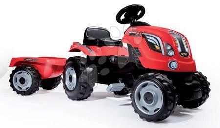 Vehicule cu pedală pentru copii - Tractor cu pedale Farmer XL Smoby cu remorcă roşu