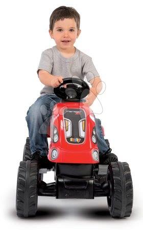 Vehicule cu pedală pentru copii - Tractor cu pedale RX Bull Smoby cu remorcă roşu_1