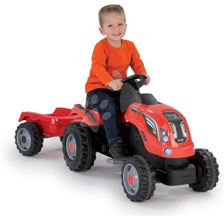 Vehicule cu pedală pentru copii - Tractor cu pedale Farmer XL Smoby cu remorcă roşu_1