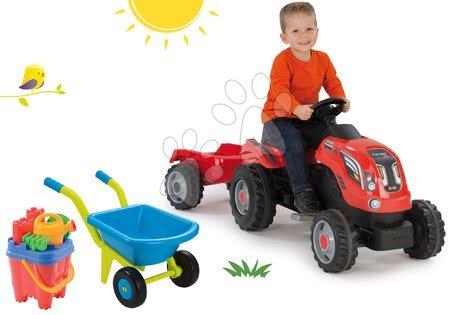 Akce - Set traktor na šlapání Farmer XL Smoby s přívěsem a kolečko s kbelík setem Hrad