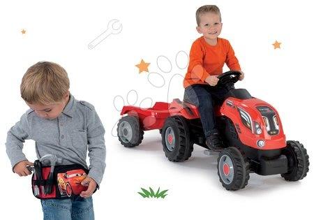 Vehicule de jucărie - Set tractor cu pedale Farmer XL Smoby cu remorcă şi curea cu unelte Maşini cu 3 buzunare cu fermoar cadou
