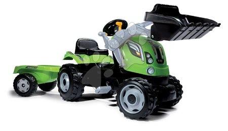 Vehicule cu pedală pentru copii - Tractor cu pedale, încărcător frontal Farmer Max Smoby verde și remorcă de la vârsta de 3 ani