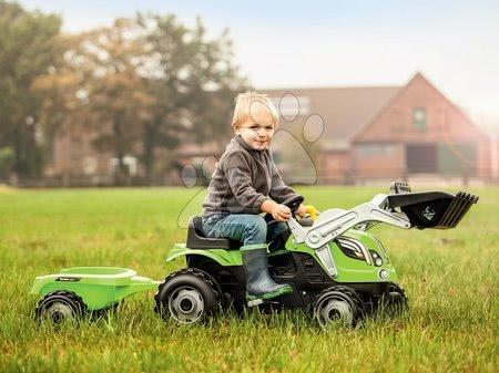 Vehicule cu pedală pentru copii - Tractor cu pedale, încărcător frontal Farmer Max Smoby verde și remorcă de la vârsta de 3 ani_1