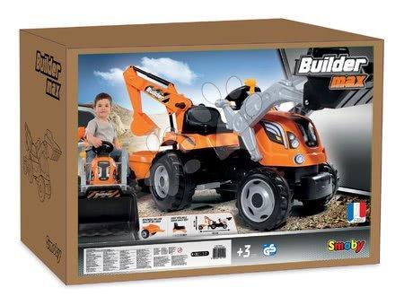 Vehicule cu pedală pentru copii - Tractor cu pedale Builder Max Constructor Smoby cu graifer şi încărcător frontal portocaliu_1